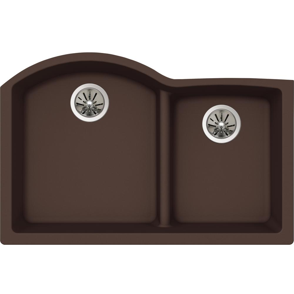 Quartz Undermount Kitchen Sinks Part - 22: Elkay Premium Quartz Undermount Composite 33 In. Double Basin Kitchen Sink  In Chestnut