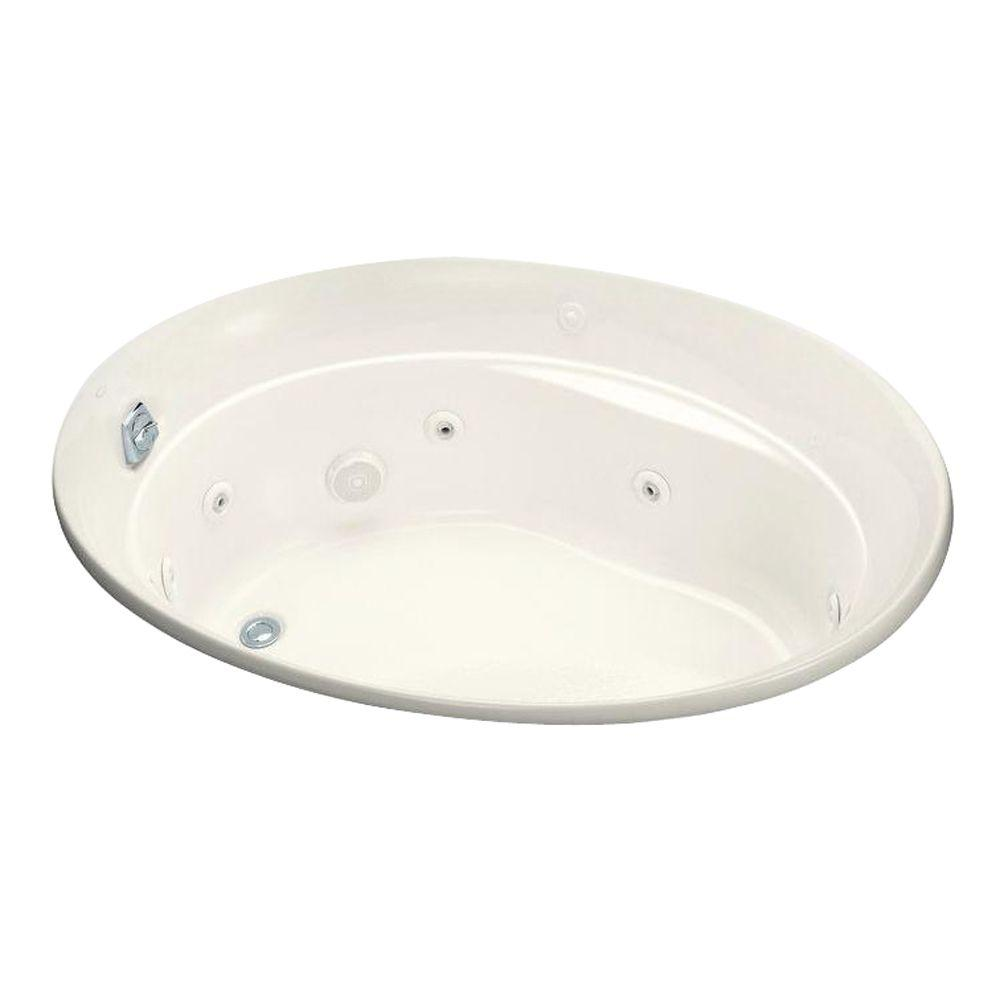 KOHLER Serif 5 ft. Whirlpool Tub with Reversible Drain in Biscuit