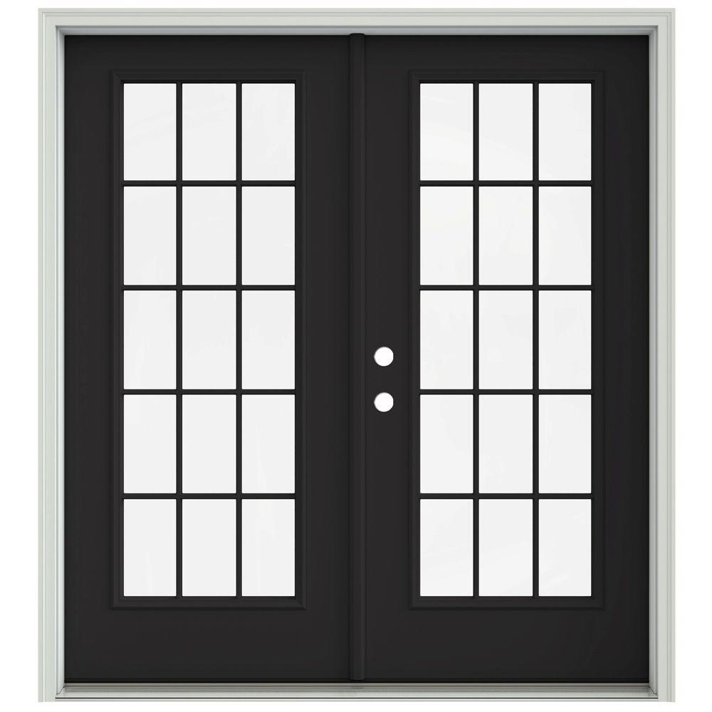 JELD-WEN 72 in. x 80 in. Chestnut Bronze Prehung Right-Hand Inswing 15 Lite French Patio Door with Brickmould