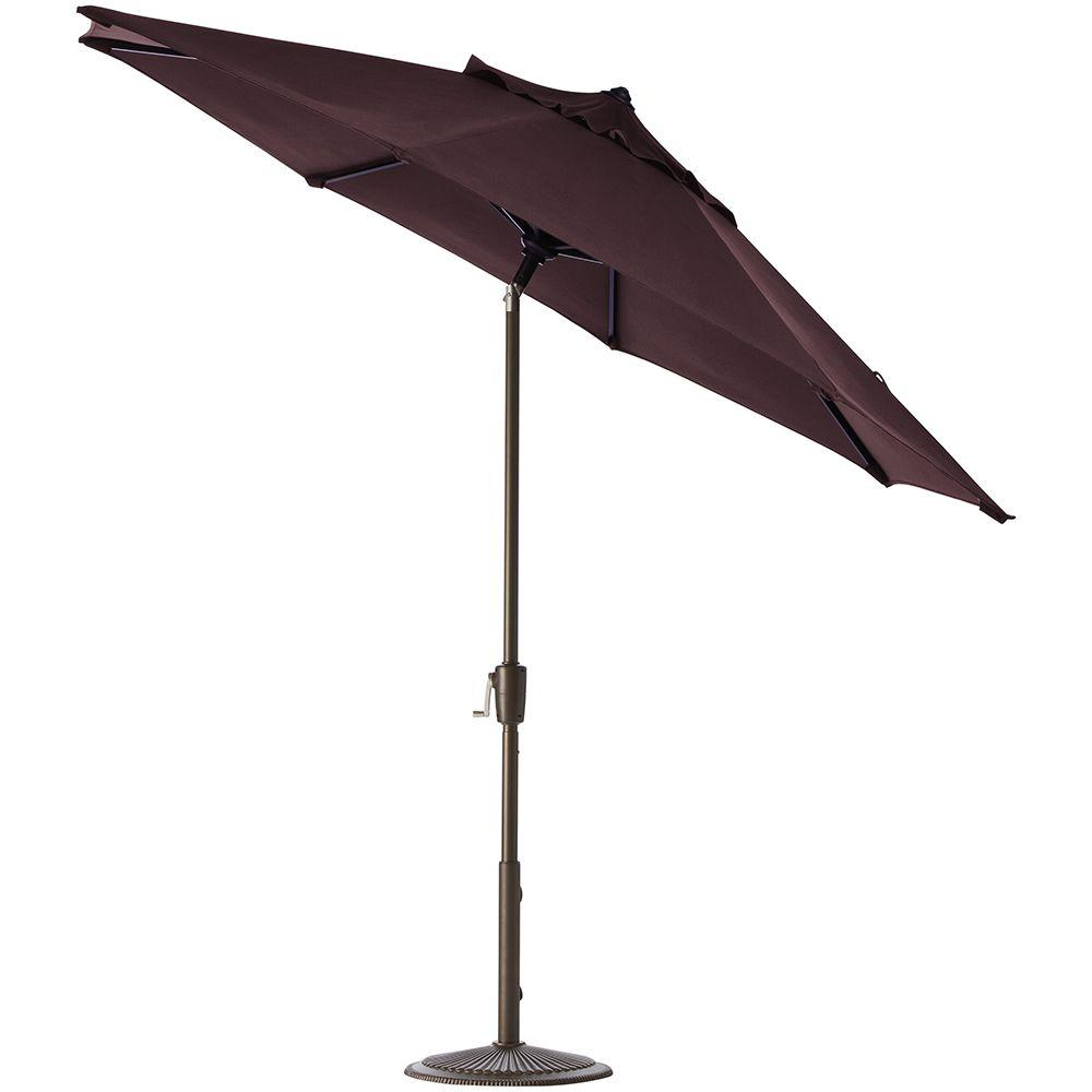 Home Decorators Collection 7.5 ft. Auto-Tilt Patio Umbrella in Fife Plum Sunbrella with Bronze Frame