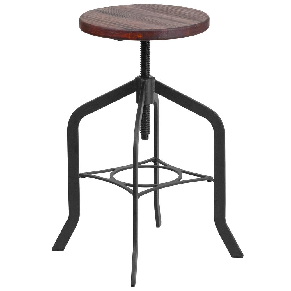 Home decorators collection turner adjustable height black bar stool 1609000210 the home depot Home depot wood bar stools