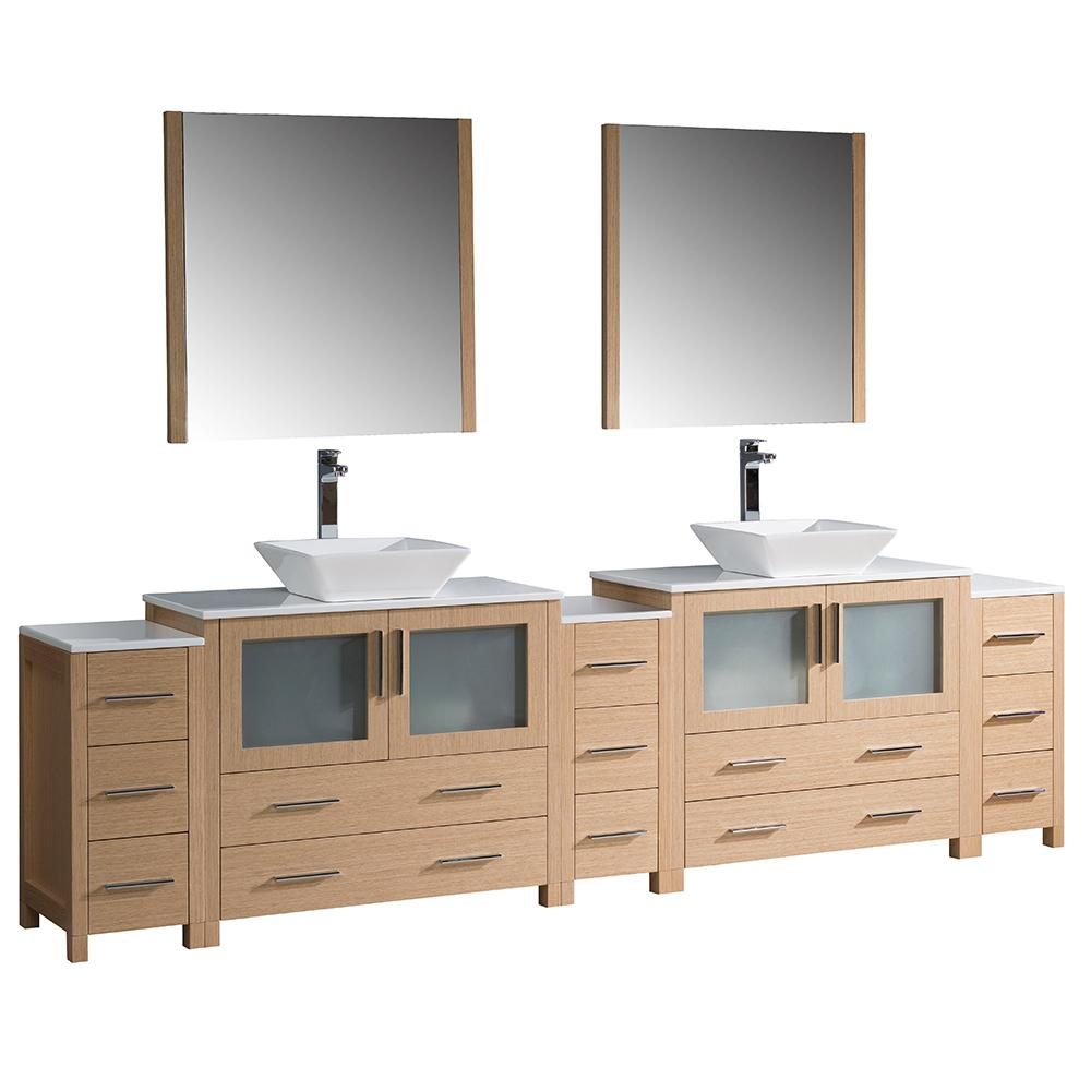Torino 108 in. Double Vanity in Light Oak with Glass Stone
