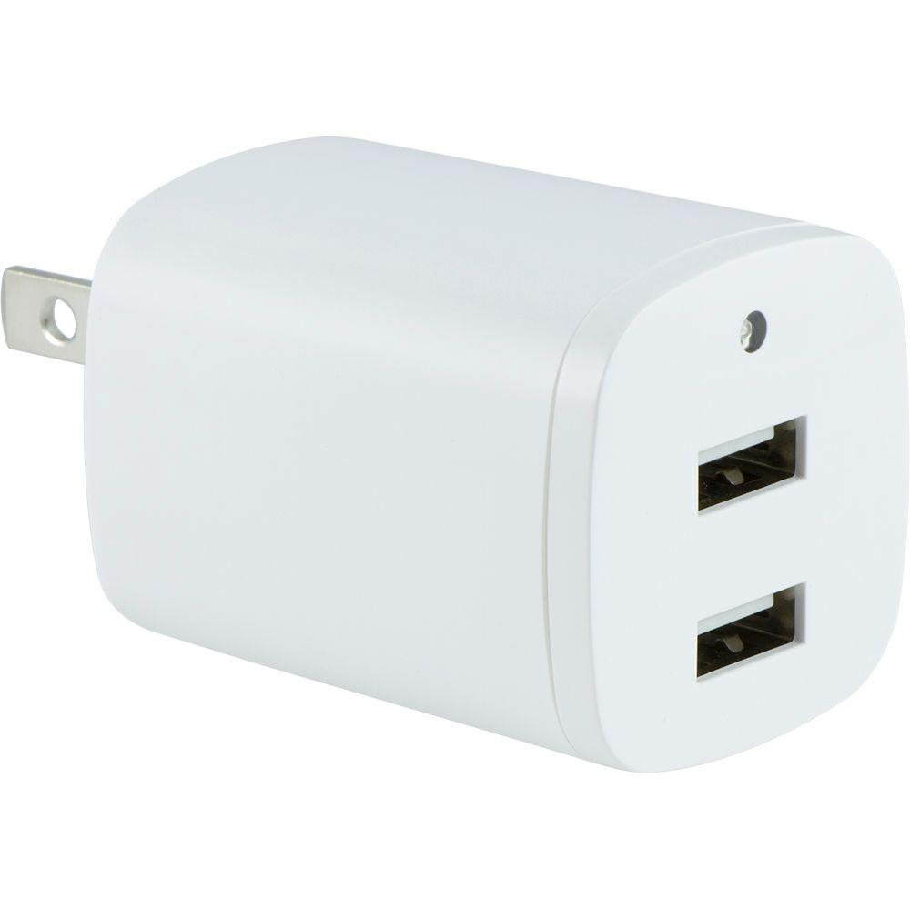 AC to Dual Port USB 2.1 Amp Adapter with Folding Prongs,