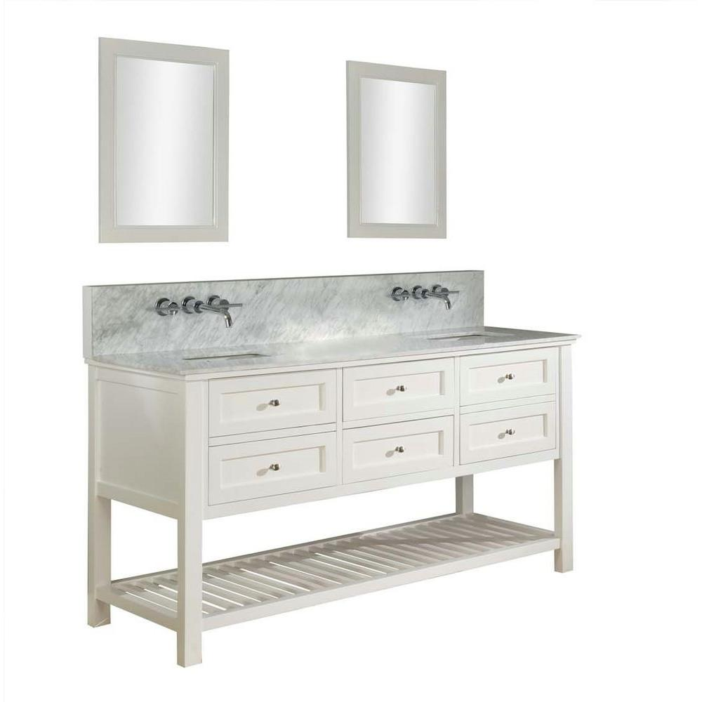 Mission Spa Premium 70 in. Double Vanity in Pearl White with