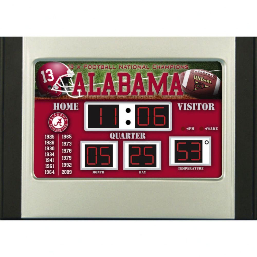 null University of Alabama 6.5 in. x 9 in. Scoreboard Alarm Clock with Temperature
