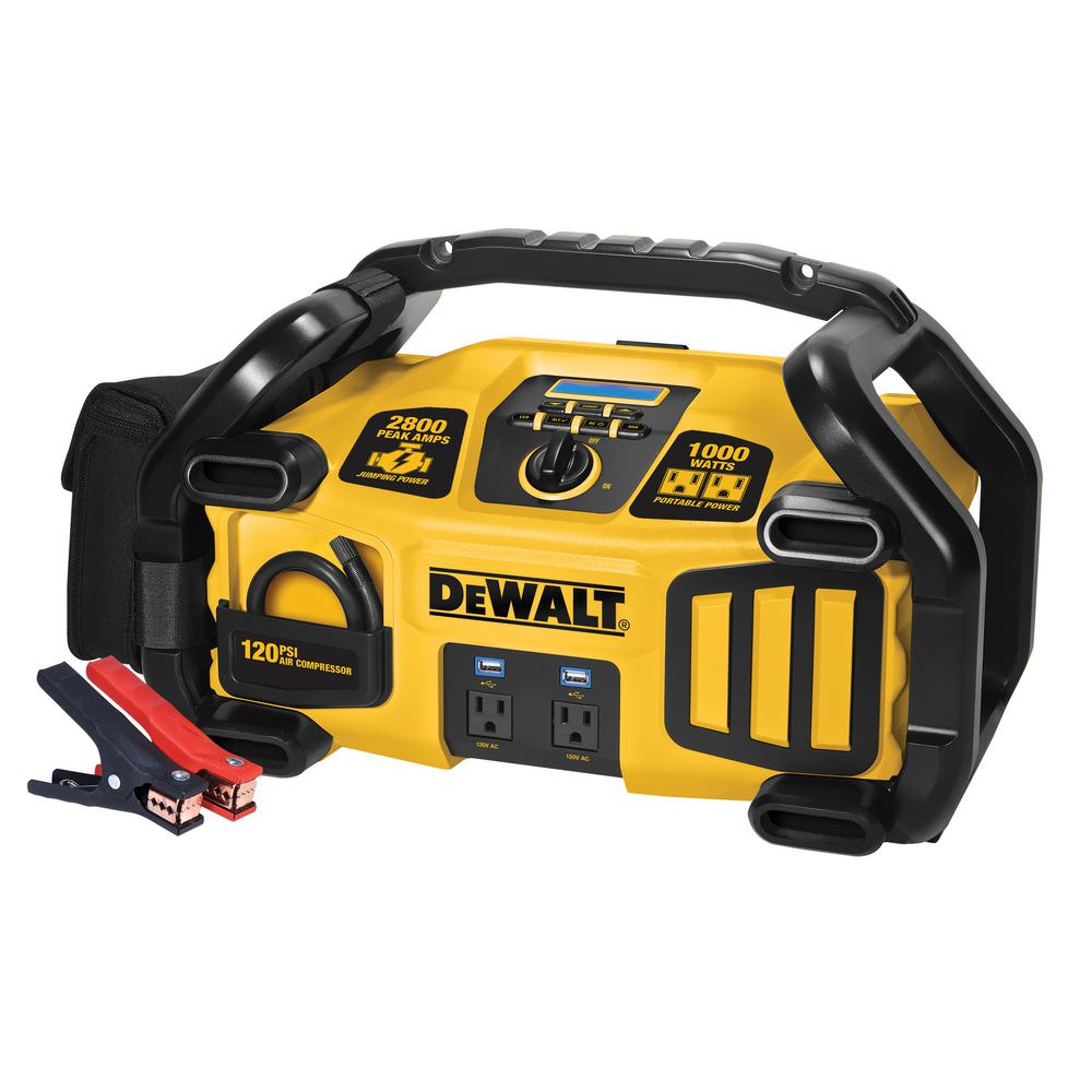 DEWALT 2800 Peak Amp Jump Starter 1000-Watt Power Inverter ...