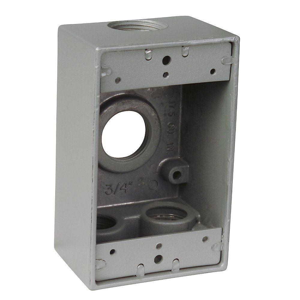 4 4 Weatherproof Electrical Box: 1-Gang Weatherproof Box Silver With 4 3/4 In. Holes-S106E