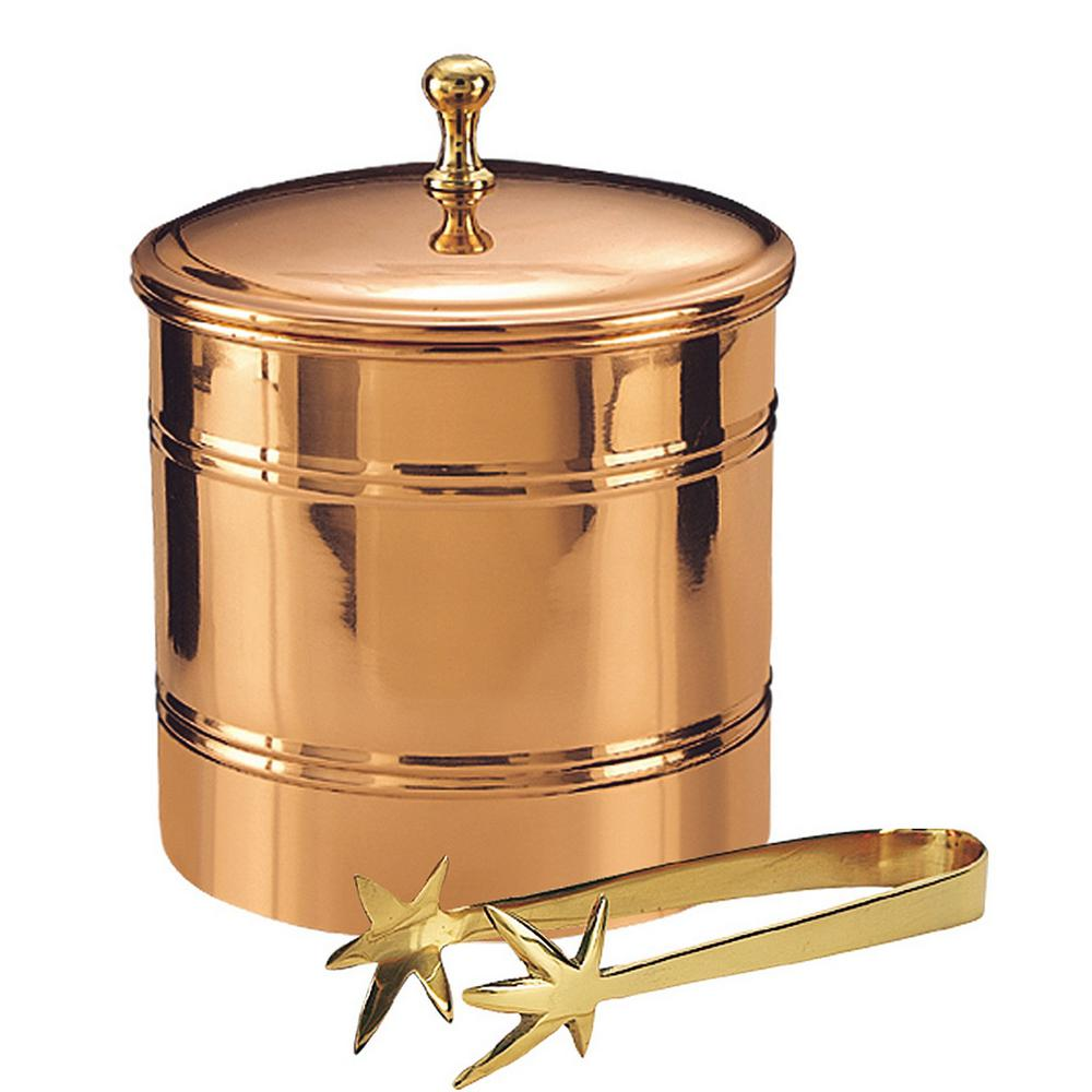 Old Dutch 3 qt. 7 in. Dia x 8.75 in. x 7 in. H Decor Copper Lined Ice Bucket with Brass 7.25 in. Tongs