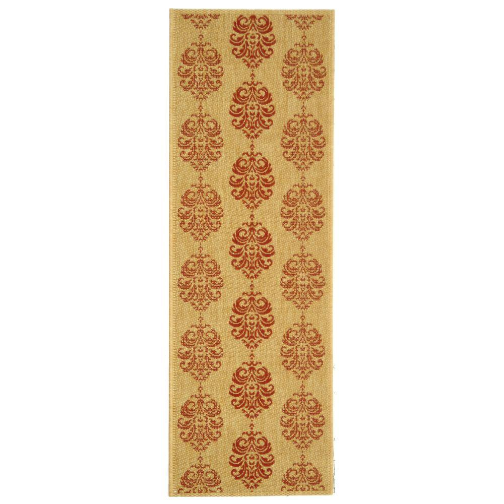 Courtyard Natural/Red 2 ft. 3 in. x 12 ft. Runner