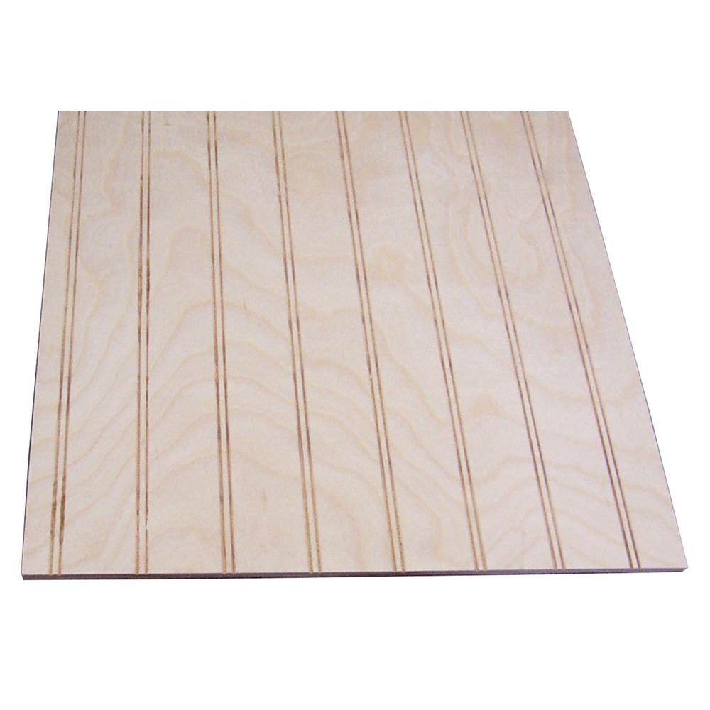 null 32 sq. ft. Unfinished Birch Paneling with 1-1/2 in. Round Bead