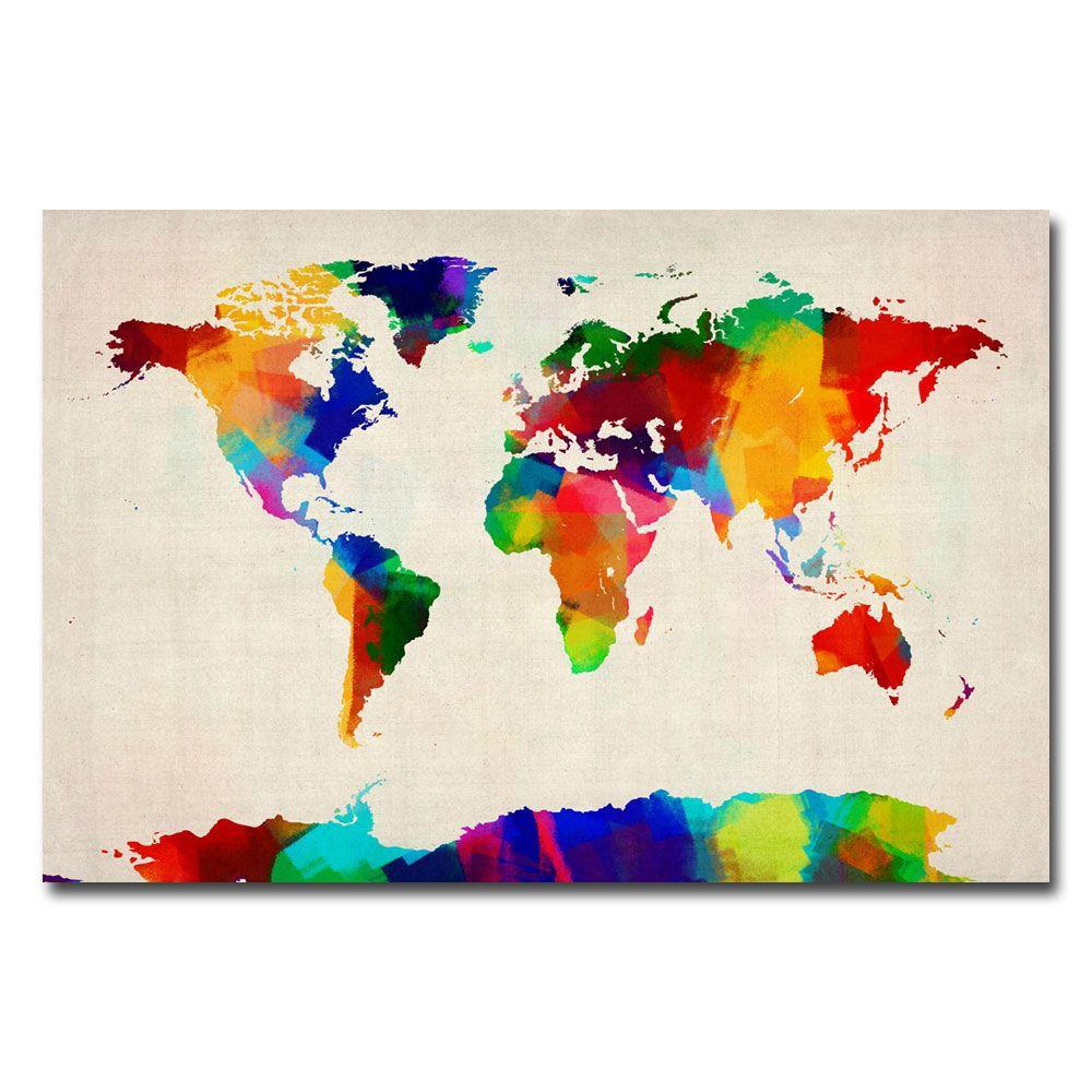 22 in. x 32 in. Sponge Painting World Map Canvas Art