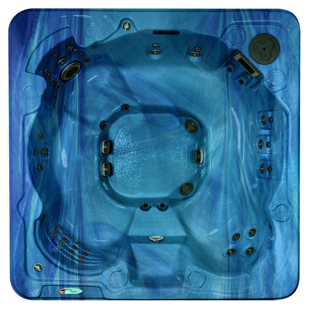 QCA Spas Valletta 8-Person 70-Jet Spa with Bromine System, WOW Sound, LED Light, Polar Insulation, Collar Jets, and Hard Cover