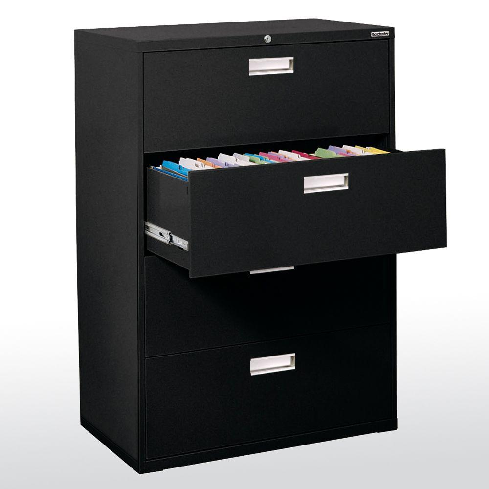 Sandusky 600 Series 53 in. H x 42 in. W x 19 in. D 4-Drawer Lateral File Cabinet in Black