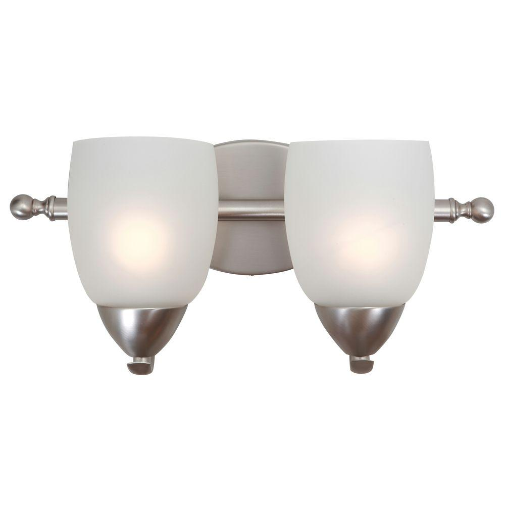 Yosemite Home Decor Mirror Lake 2 Light Brushed Nickel Bathroom Vanity Light With White Etched
