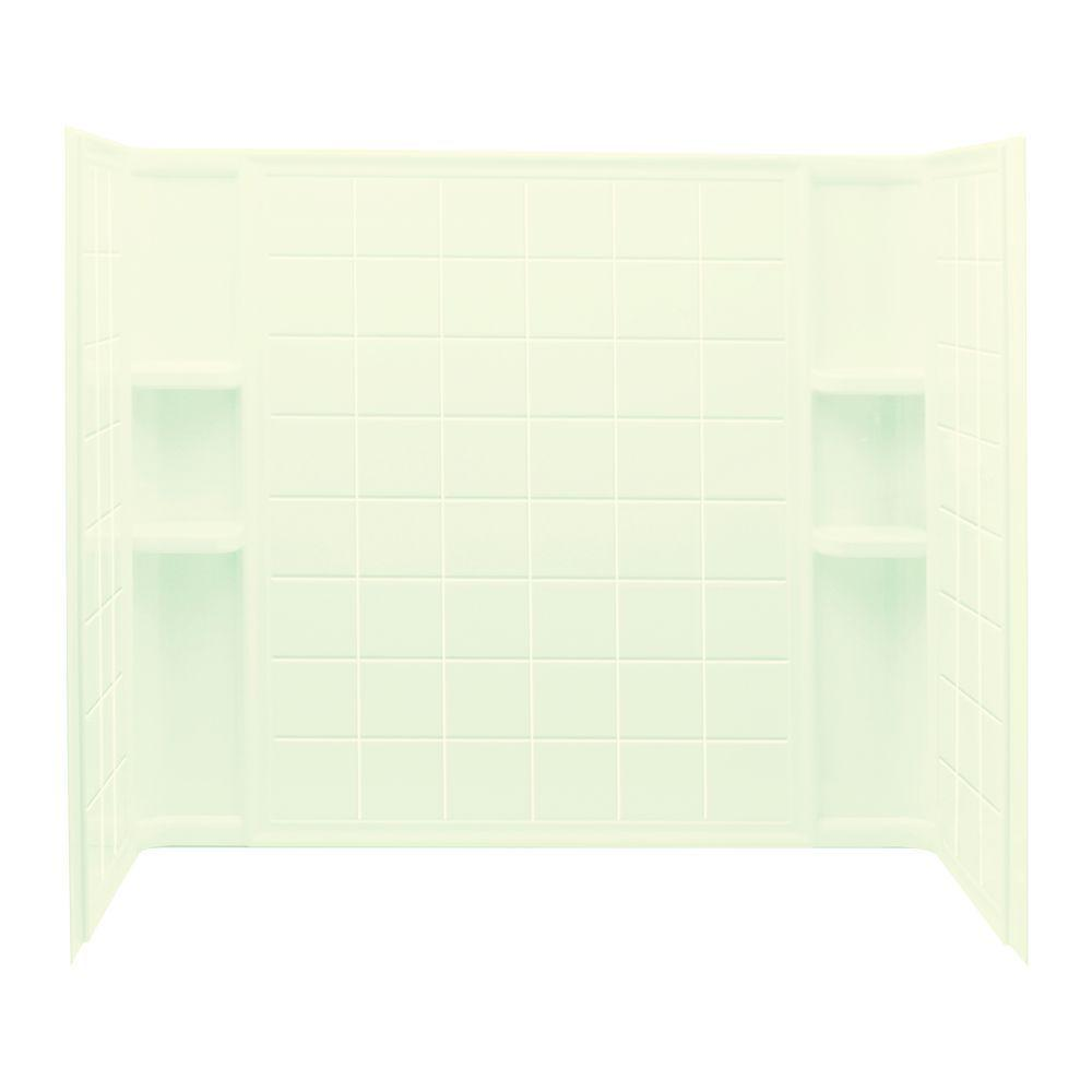 STERLING Ensemble Tile 32 in. x 60 in. x 55-1/4 in. 3-piece Direct-to-Stud Tub and Shower Wall Set in Biscuit