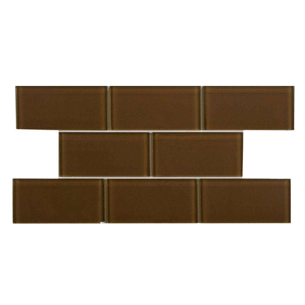 Merola Tile Tessera Subway Earth 3 in. x 6 in. Glass Wall Tile (1 sq. ft. / pack)