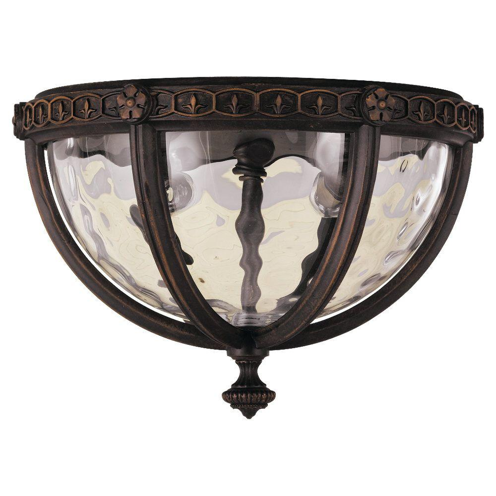 Regent Court 2-Light Walnut Outdoor Ceiling Fixture