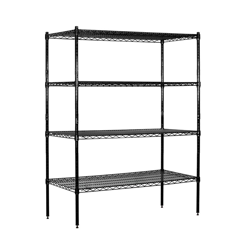 Salsbury Industries 9500S Series 48 in. W x 63 in. H x 18 in. D Galvanized Wire Stationary Wire Shelving in Black