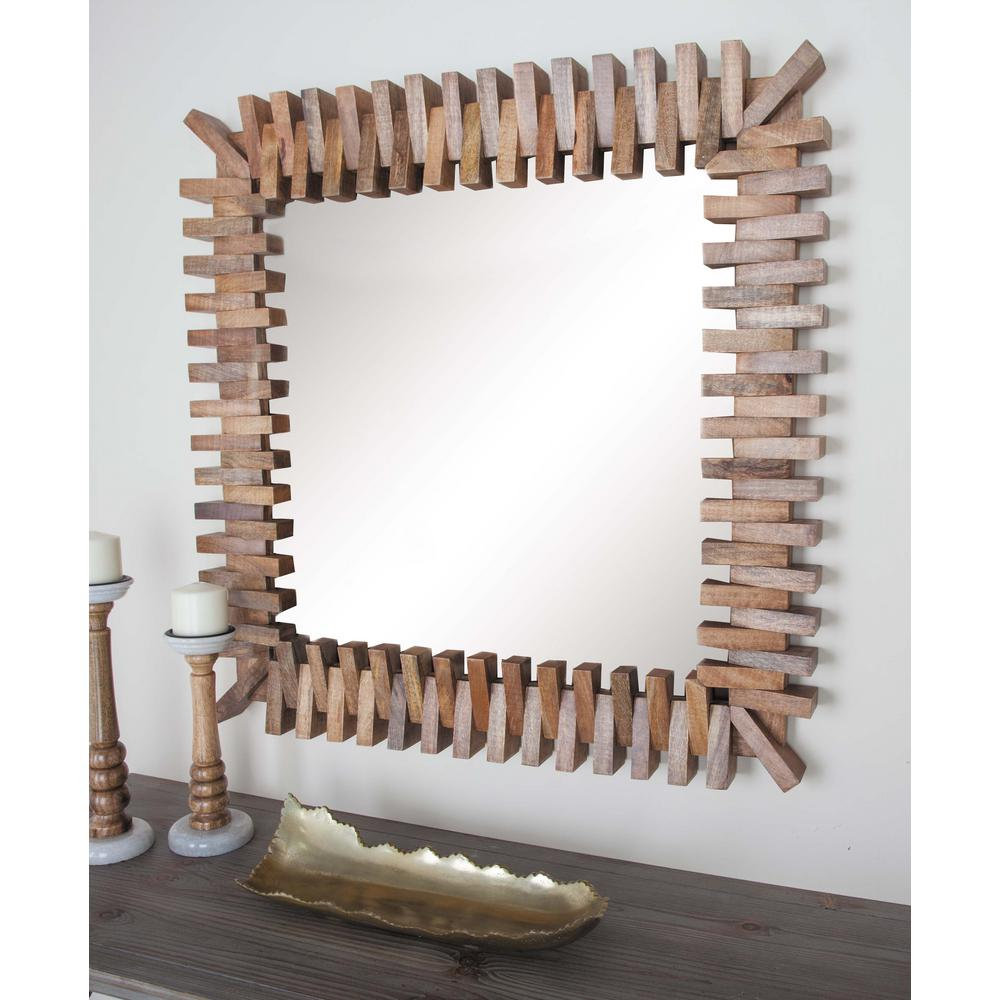 36 in. x 36 in. Brick Wall Brown Framed Wall Mirror