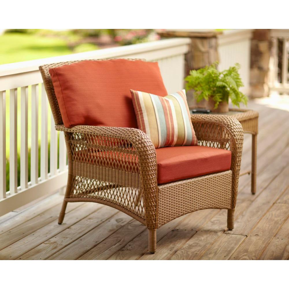 Martha Stewart Living Charlottetown Natural All Weather Wicker Patio Lounge  Chair With Quarry Red Cushion 65 909556/1   The Home Depot