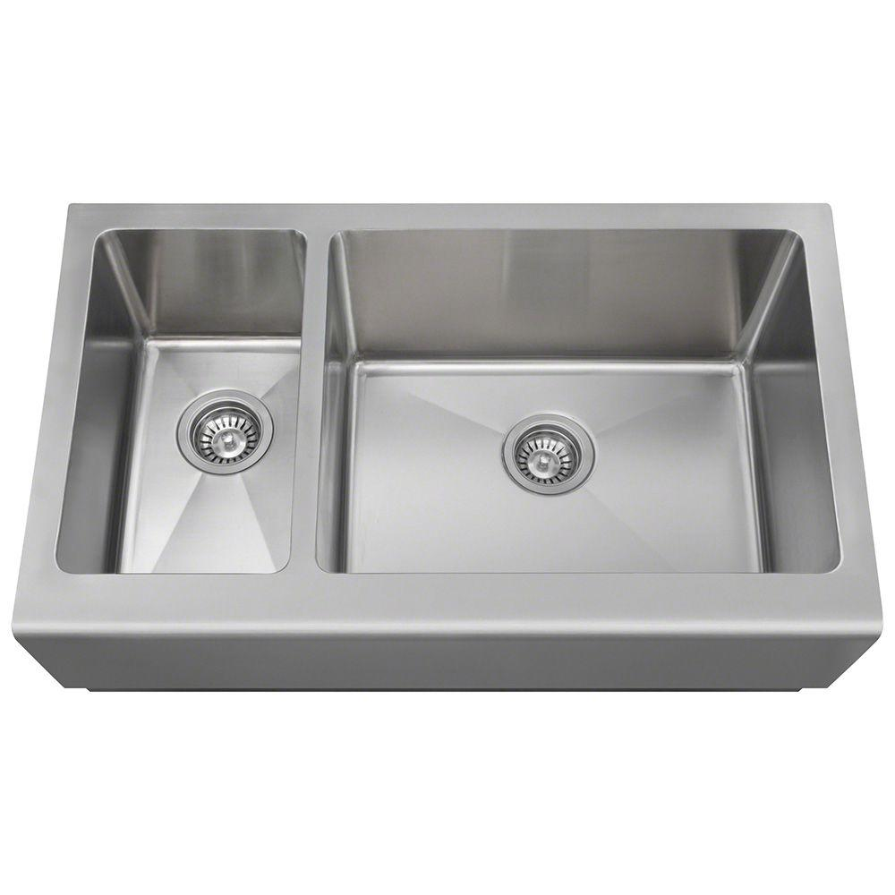 Polaris sinks farmhouse apron front stainless steel 33 in double basin kitchen sink pr704 the - Kitchen sink specifications ...