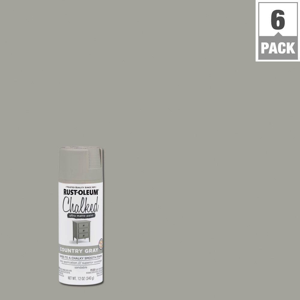 12 oz. Country Gray Chalked Spray Paint (6-Pack)