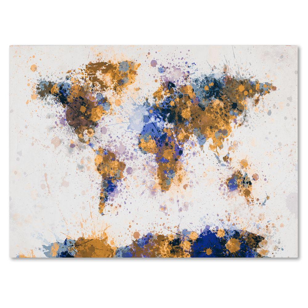 "16 in. x 24 in. ""Paint Splashes World Map 2"" Canvas"
