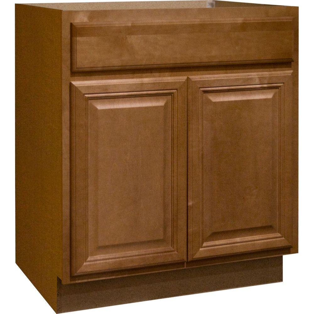 Hampton Bay 30x34.5x24 in. Cambria Base Cabinet with Ball-Bearing Drawer Glides in Harvest