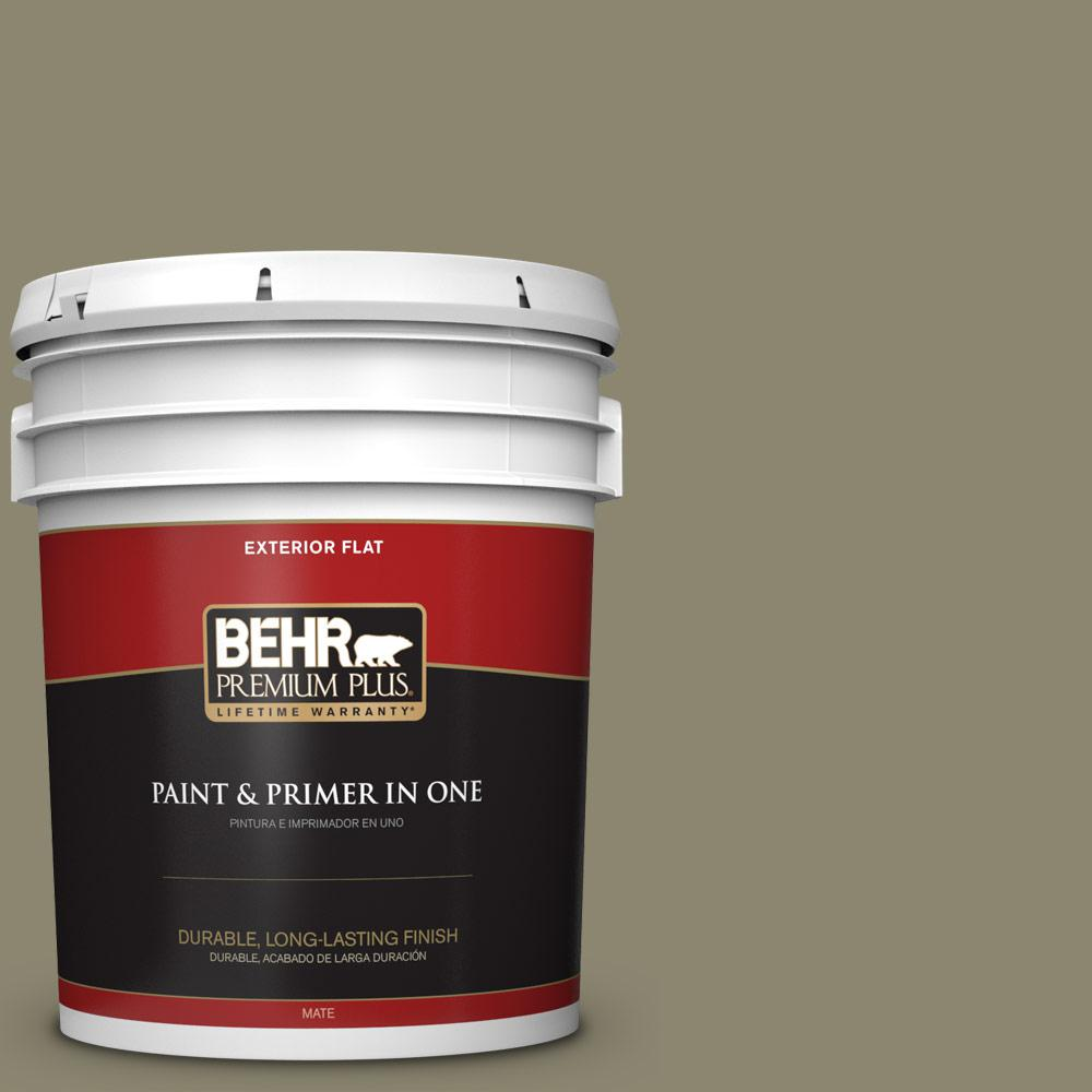 BEHR Premium Plus 5 gal. #PPU8-21 Mossy Bank Flat Exterior Paint-430005
