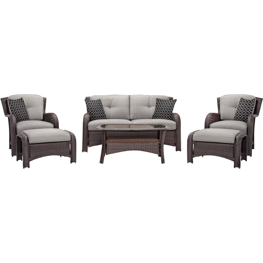 Corolla 6-Piece Wicker Patio Conversation Set with Gray Cushions