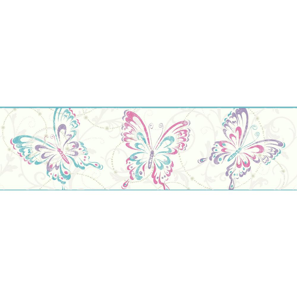 York wallcoverings inc growing up kids butterfly scroll for Butterfly wallpaper border