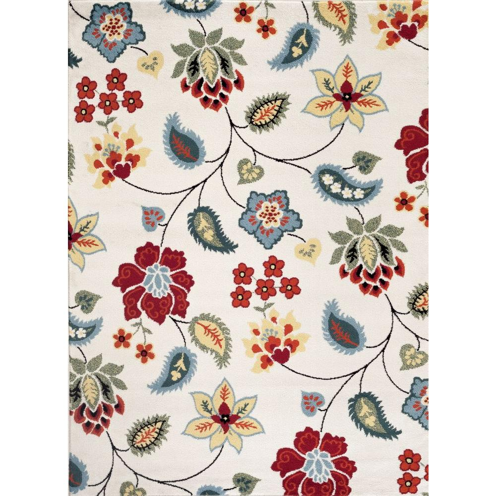 Transitional Floral Design Cream 7 ft. 10 in. x 10 ft.