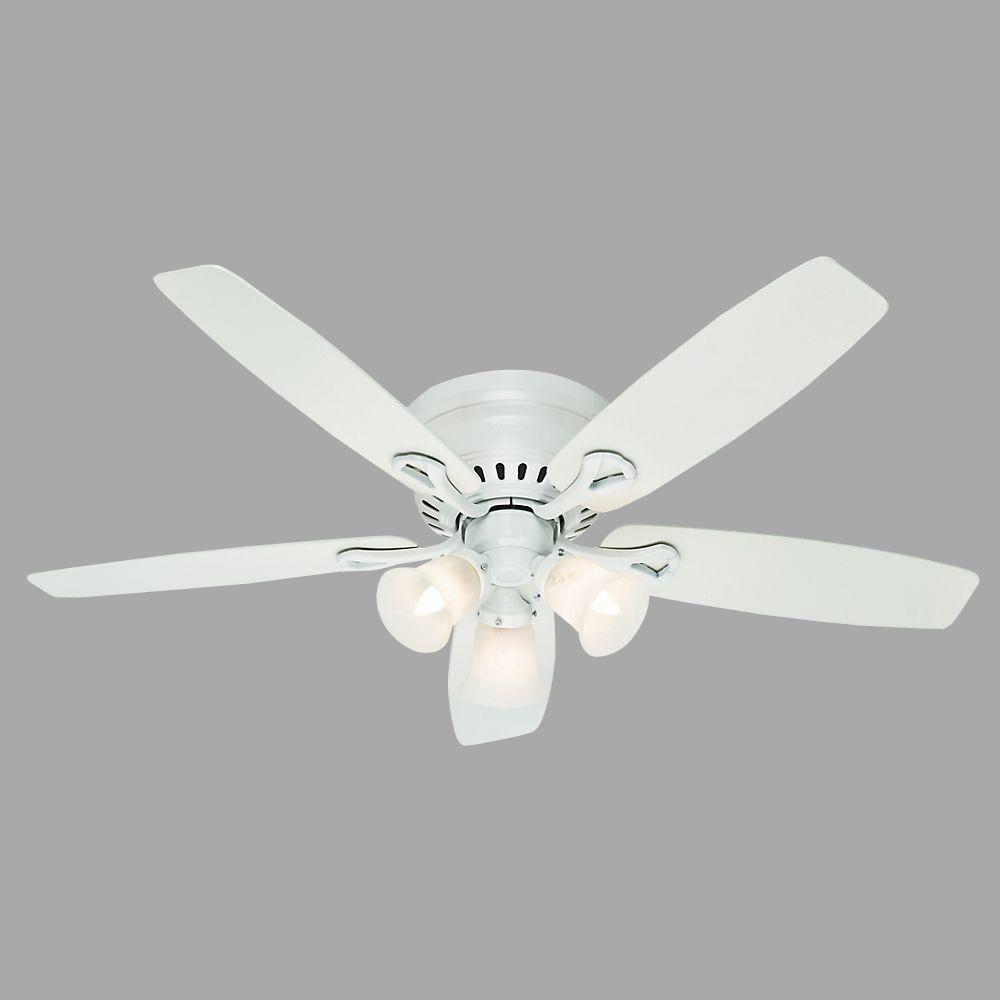 Oakhurst 52 in. Indoor Low Profile White Ceiling Fan with Light