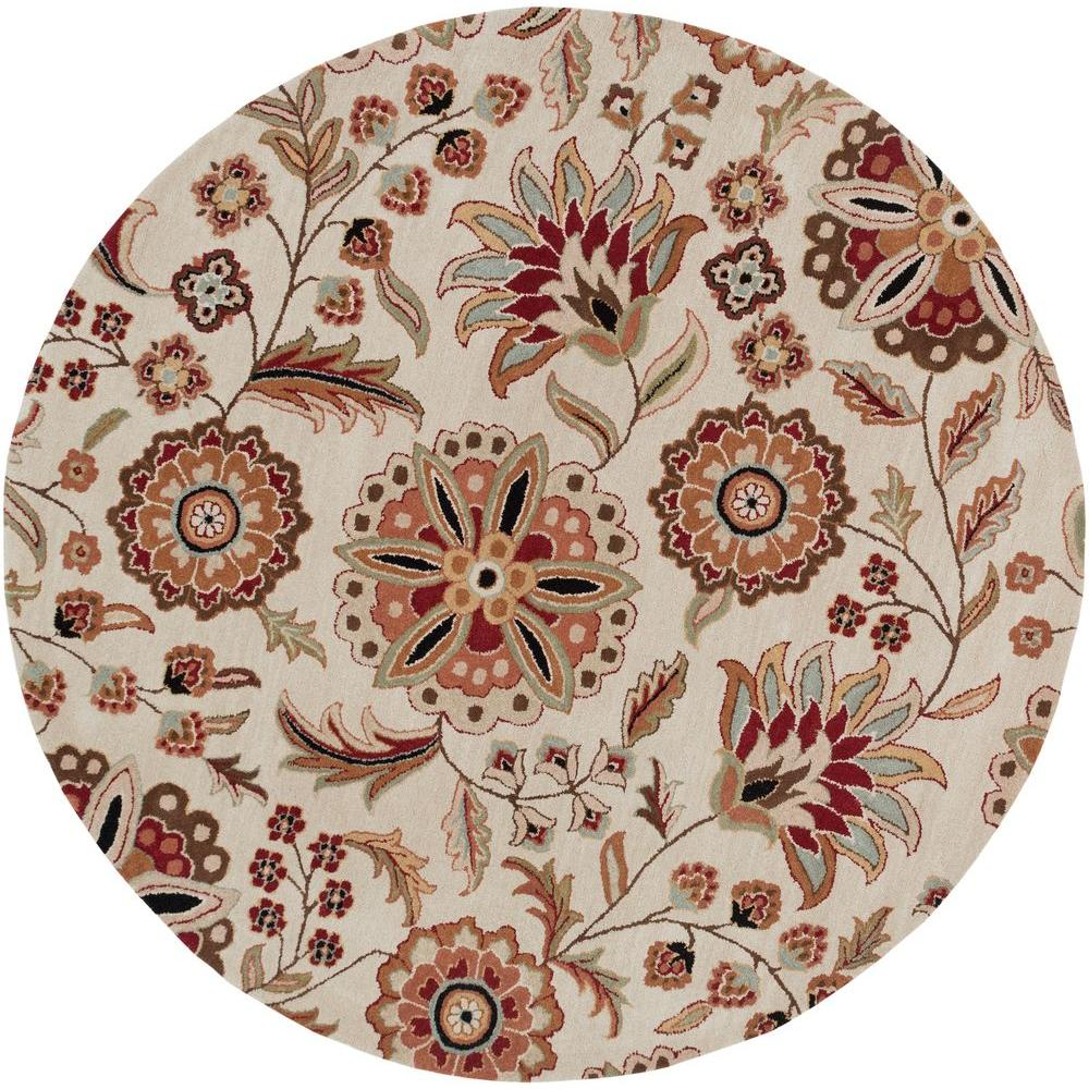 Artistic Weavers Sarah Ivory 4 ft. x 4 ft.Round Area Rug