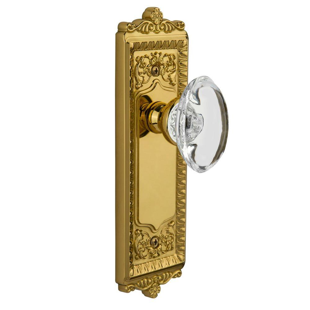 null Grandeur Lifetime Brass Passage Windsor Plate with Provence Crystal Knob