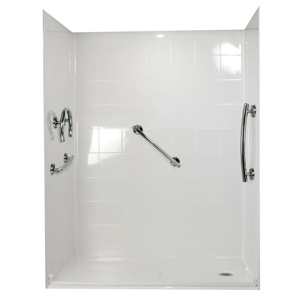 Ella Freedom 37 in. x 60 in. x 78 in. Barrier Free Roll-In Shower Kit in White with Right Drain