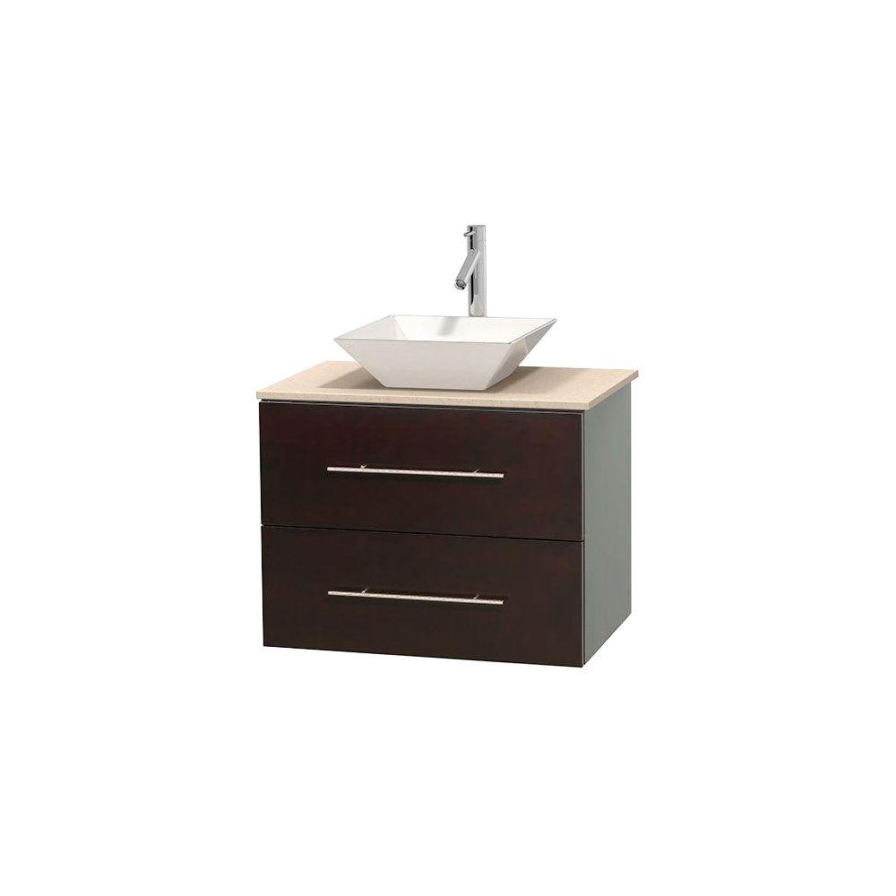 Wyndham Collection Centra 30 in. Vanity in Espresso with Marble Vanity Top in Ivory and Porcelain Sink