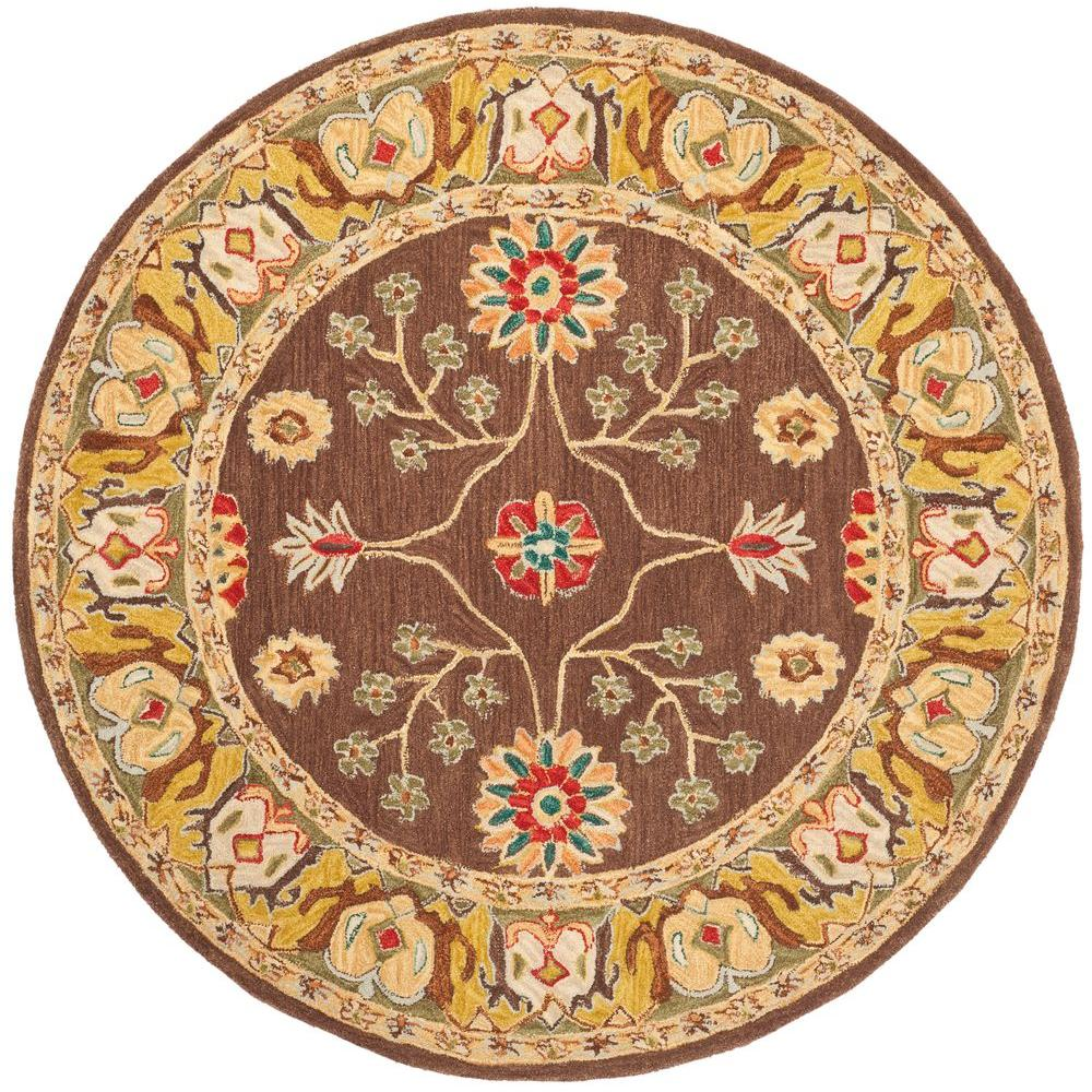 Anatolia Brown/Gold 6 ft. x 6 ft. Round Area Rug
