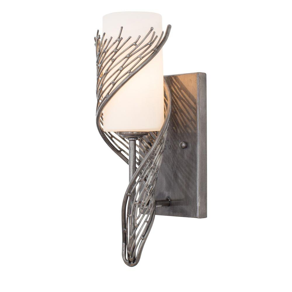 Flow 1-Light Steel Sconce with Gloss Opal Glass