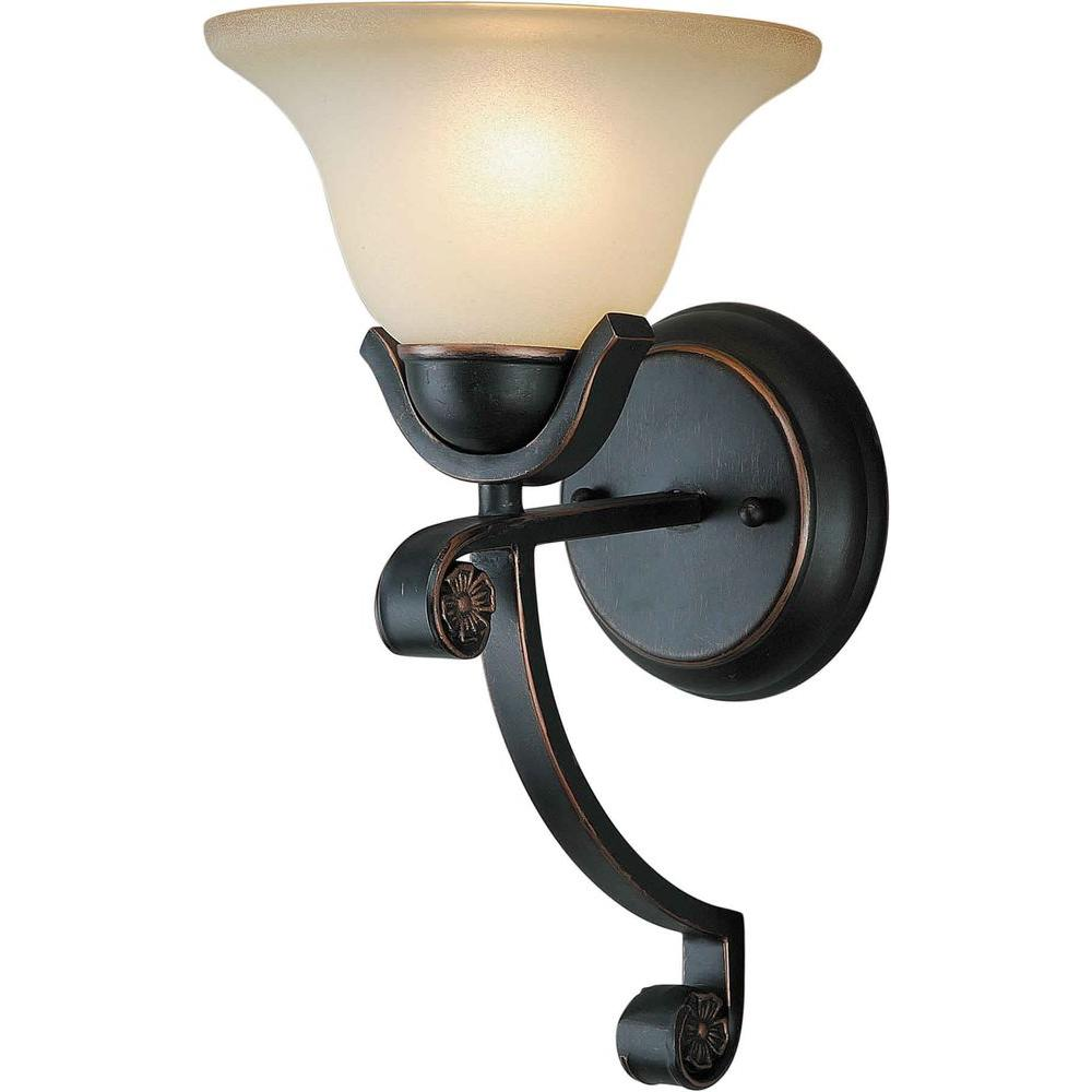 Talista 1-Light Bordeaux Wall Sconce with Shaded Umber Glass