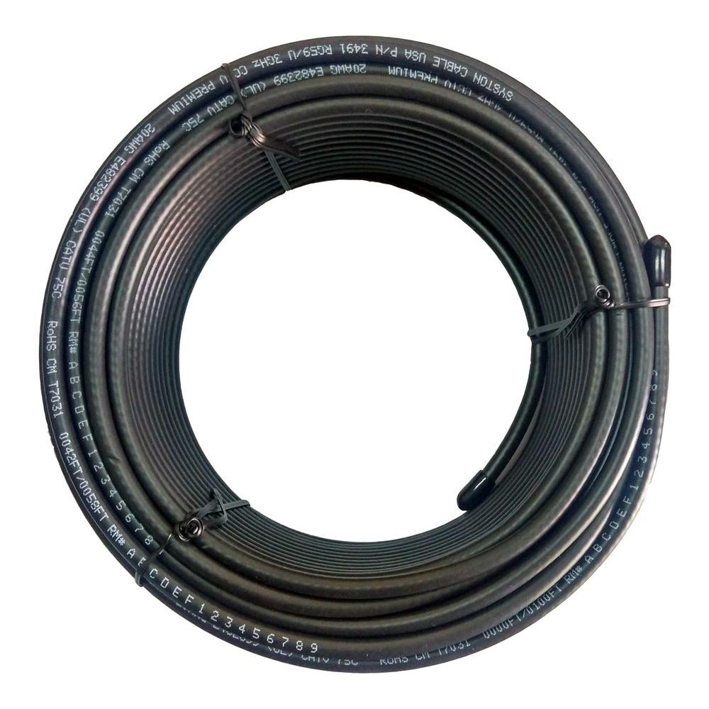 Syston Cable Technology RG59 Dual Shield 100 ft. Black CM Coaxial