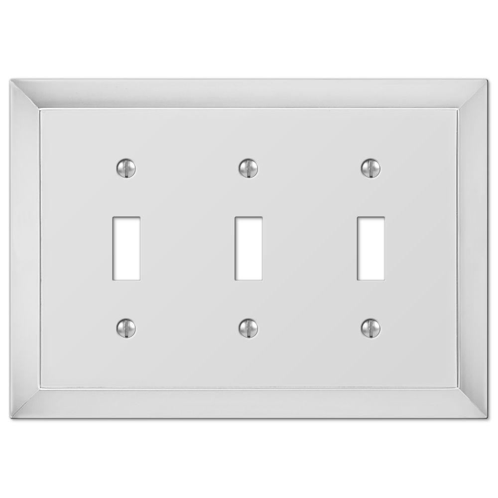 Hampton Bay Studio 3 Toggle Wall Plate - Chrome-61TTTCH - The