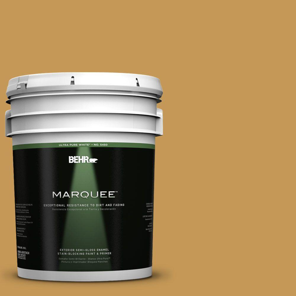 BEHR MARQUEE 5-gal. #PMD-104 Amber Glass Semi-Gloss Enamel Exterior Paint