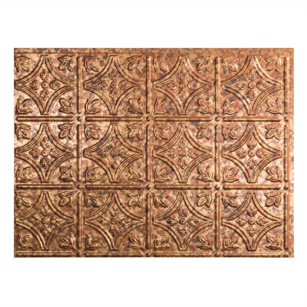 Fasade 24 in. x 18 in. Traditional 1 PVC Decorative Backsplash Panel in Cracked Copper