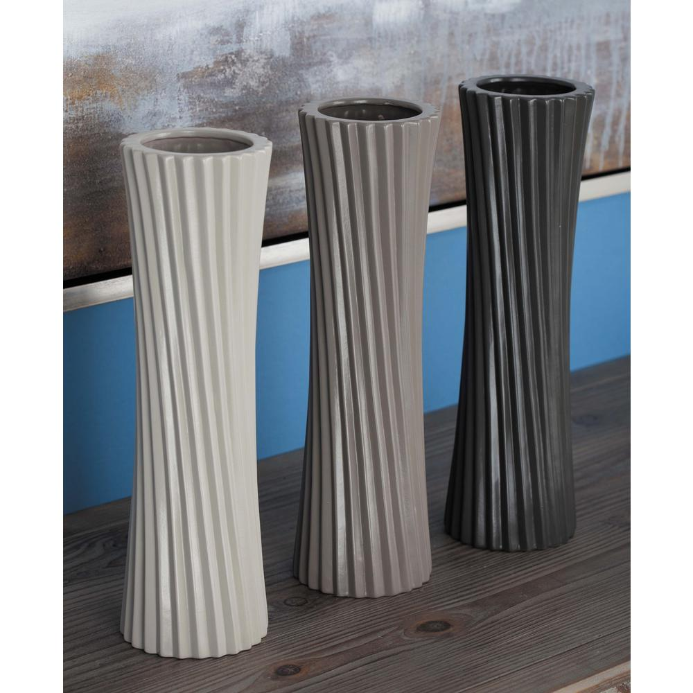 13 in. Twisted Ceramic Decorative Vases in Black, White and Gray