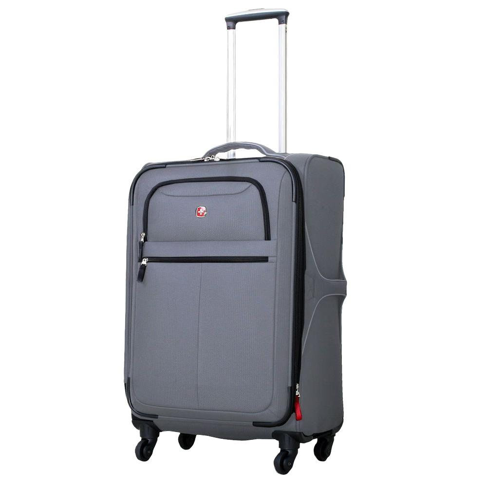 24 in. Charcoal Upright Spinner Suitcase