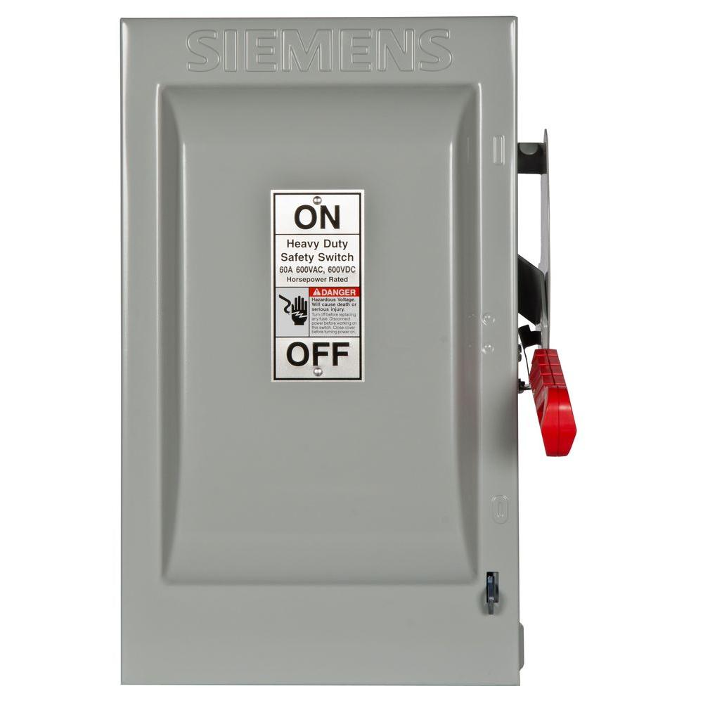 Siemens Heavy Duty 60 Amp 600-Volt 3-Pole Indoor Fusible Safety Switch-HF362
