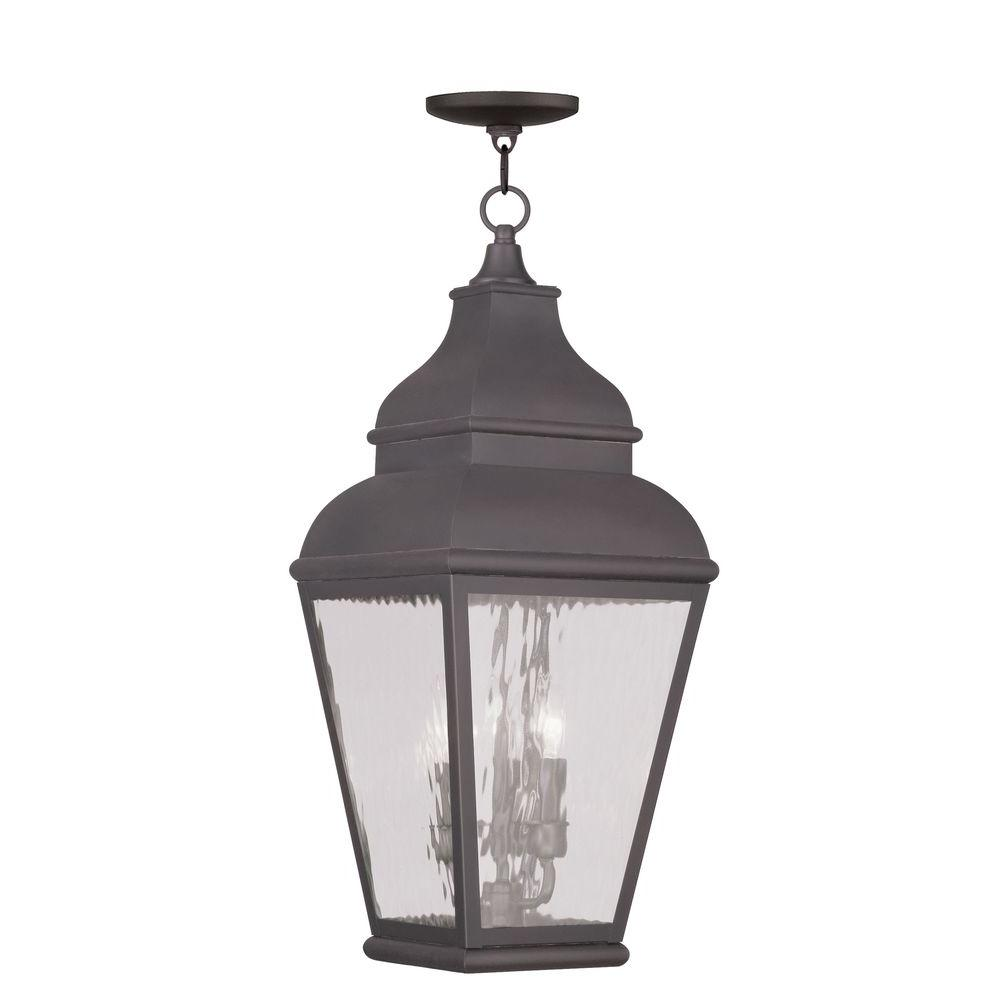 Livex Lighting Providence 3-Light Hanging Outdoor Charcoal Incandescent