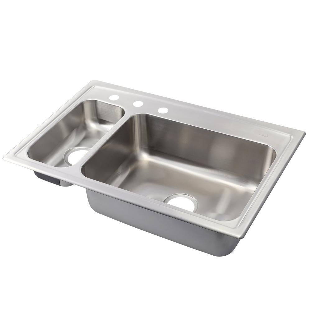 Toccata Drop-In Stainless Steel 33 in. 3-Hole Double Basin Kitchen Sink