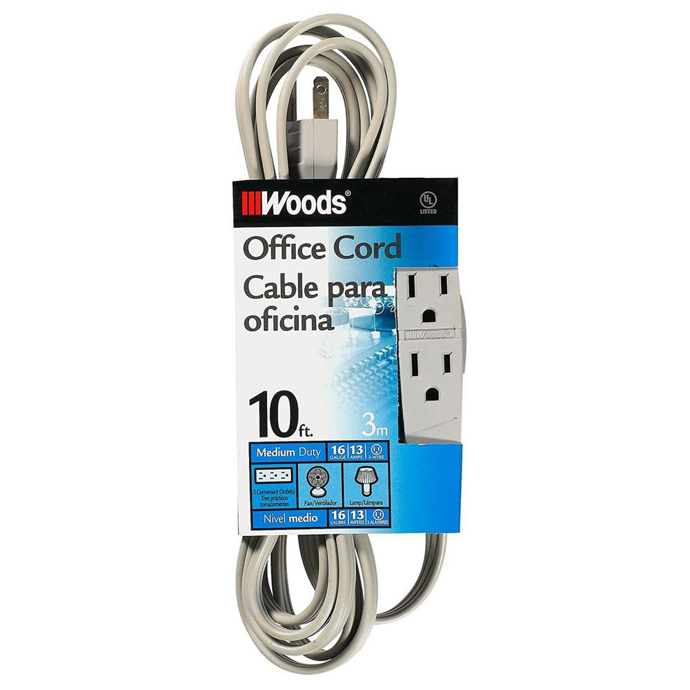 10 ft. 3-Outlet Extension Cord, Gray